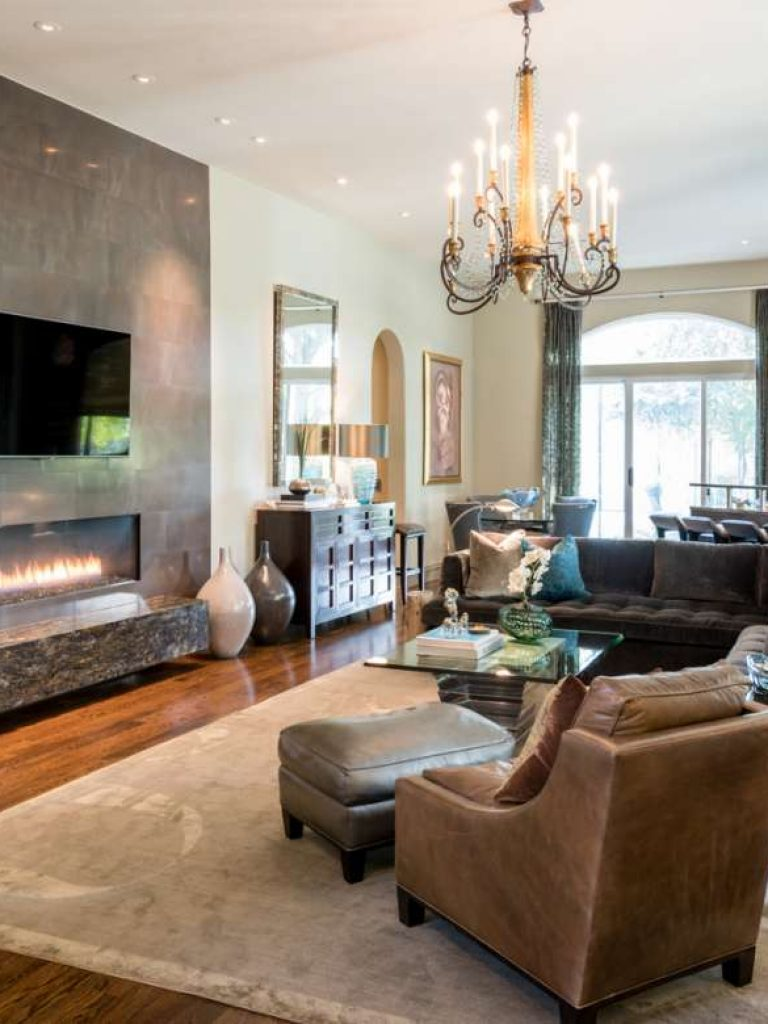 """72"""" linear fireplace in family room remodel in plano tx"""