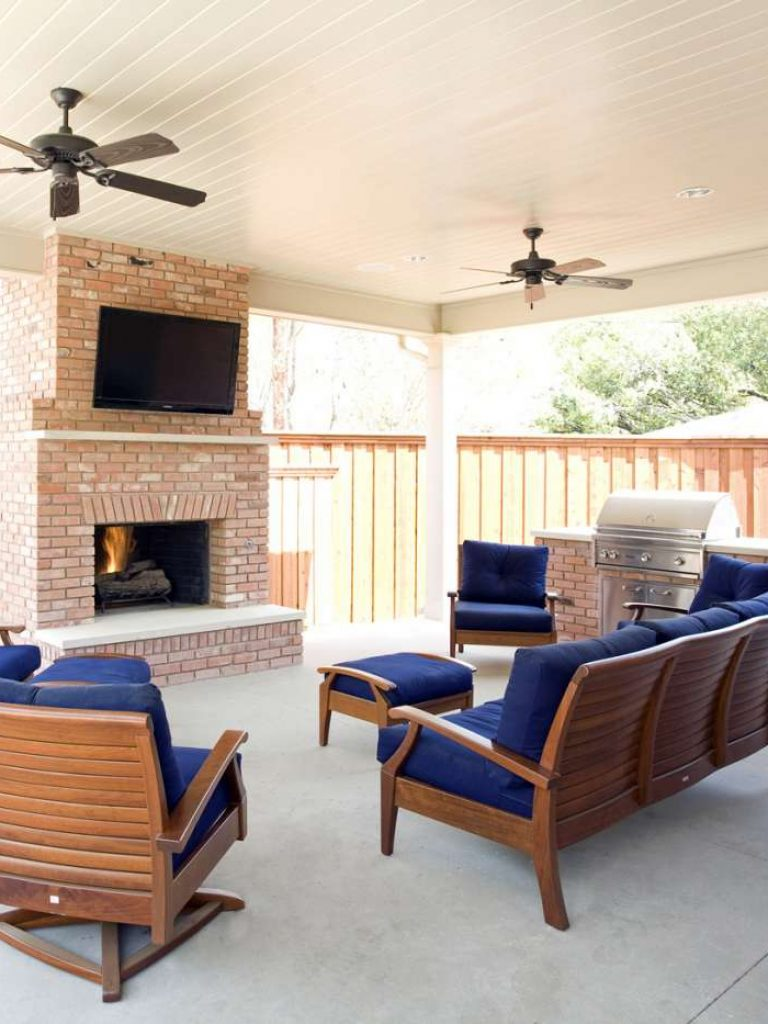 Northwood Hills exterior brick fireplace in outdoor living