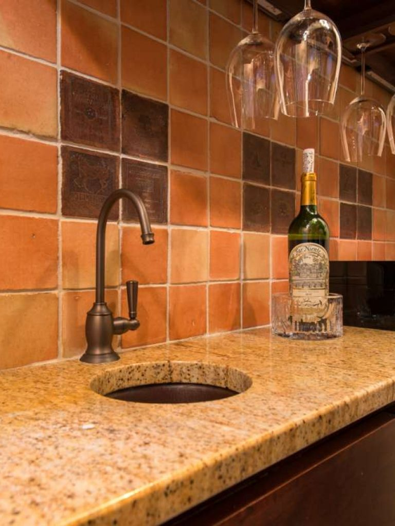 Preston Hollow Traditional Wine Room sink with sealed clay tiles