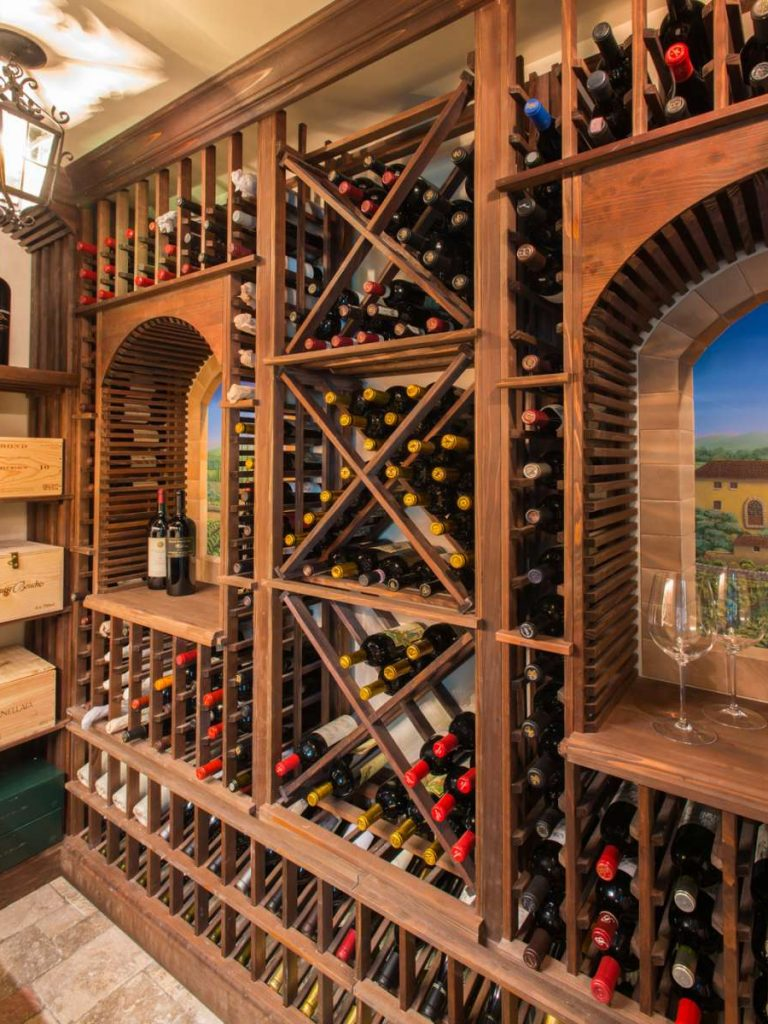 Redwood storage for a Dallas Traditional Wine Room