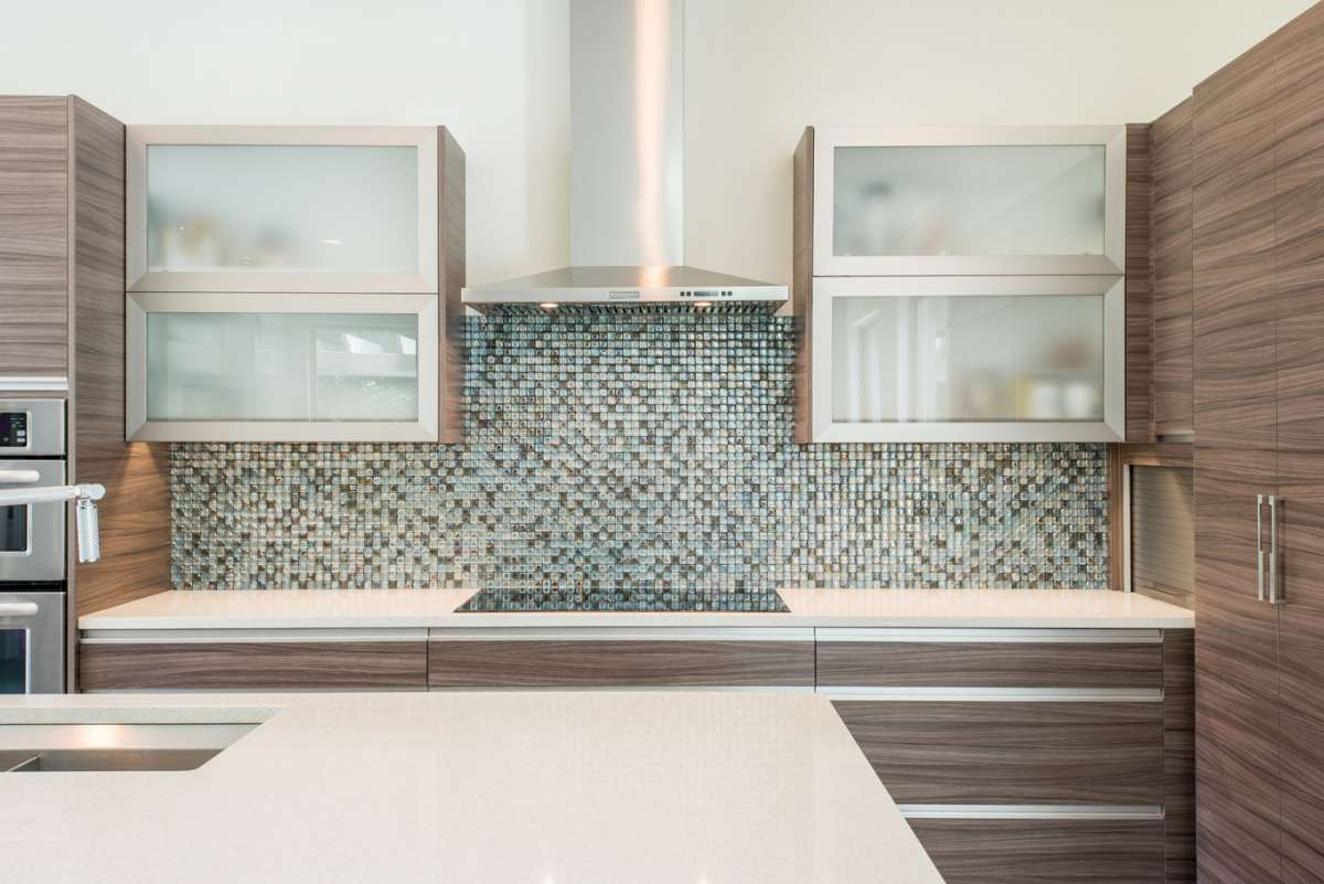 aluminum framed glass cabinet doors in Dallas kitchen remodel Northwood Hills