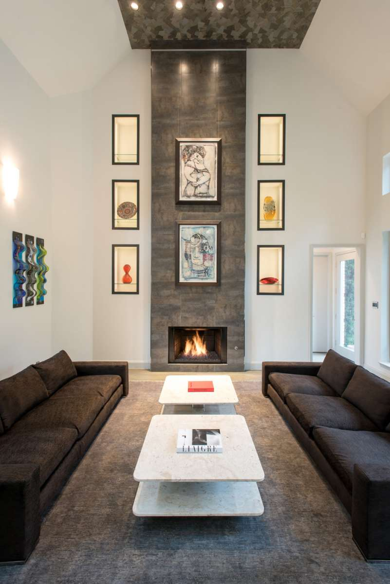 art display niches with LED lighting in Northwood Hills Living Room remodel