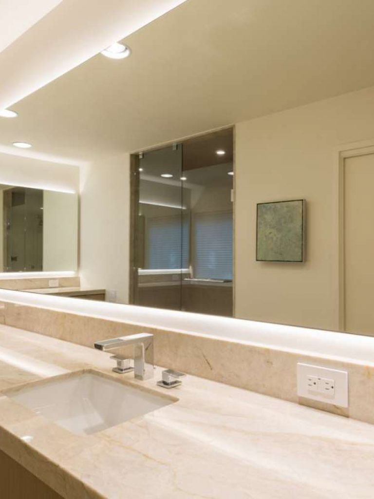 back lit mirror at master bath vanity in preston hollow remodel