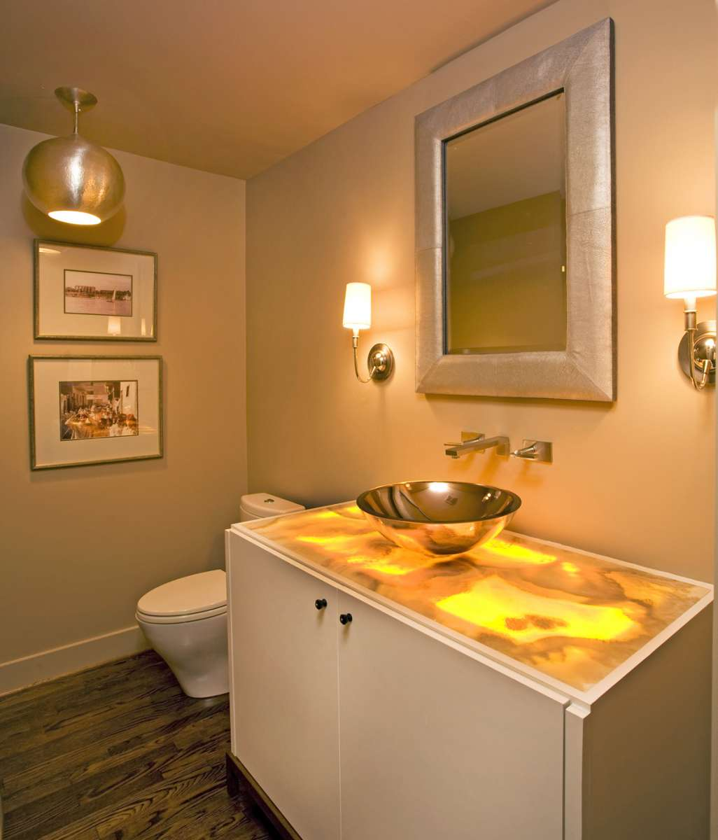 backlit onyx countertop in Dallas powder bath remodel