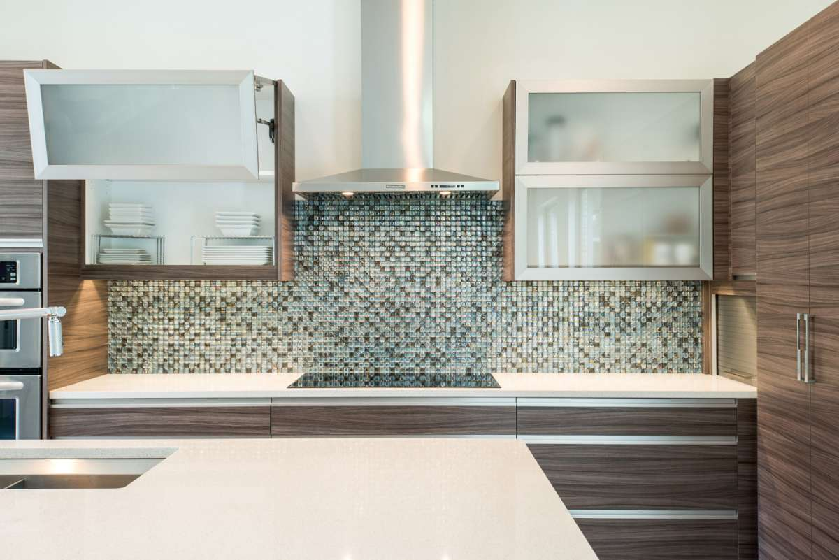 bifold lift up cabinet doors in Dallas kitchen remodel Northwood Hills