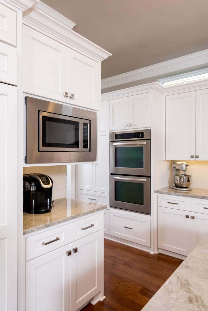 built in microwave and double ovens in plano kitchen remodel