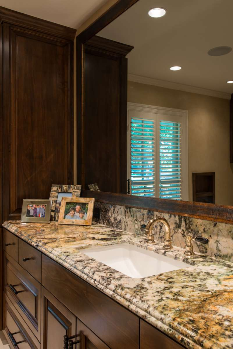 close up of vanity countertop in preston hollow master bathroom addition