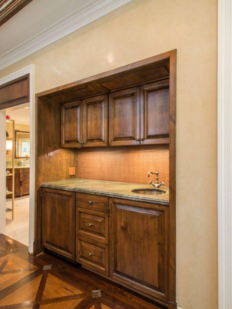 coffee bar in master bathroom addition in preston hollow