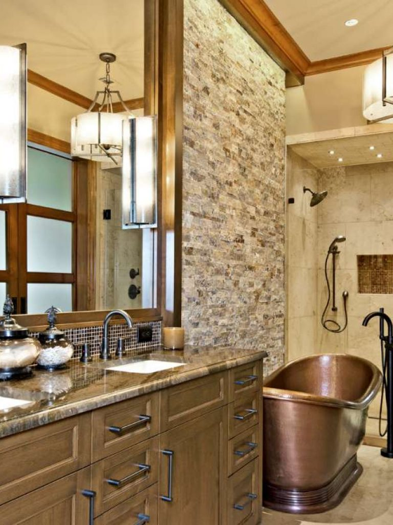 copper freestanding tub in southlake bath remodel