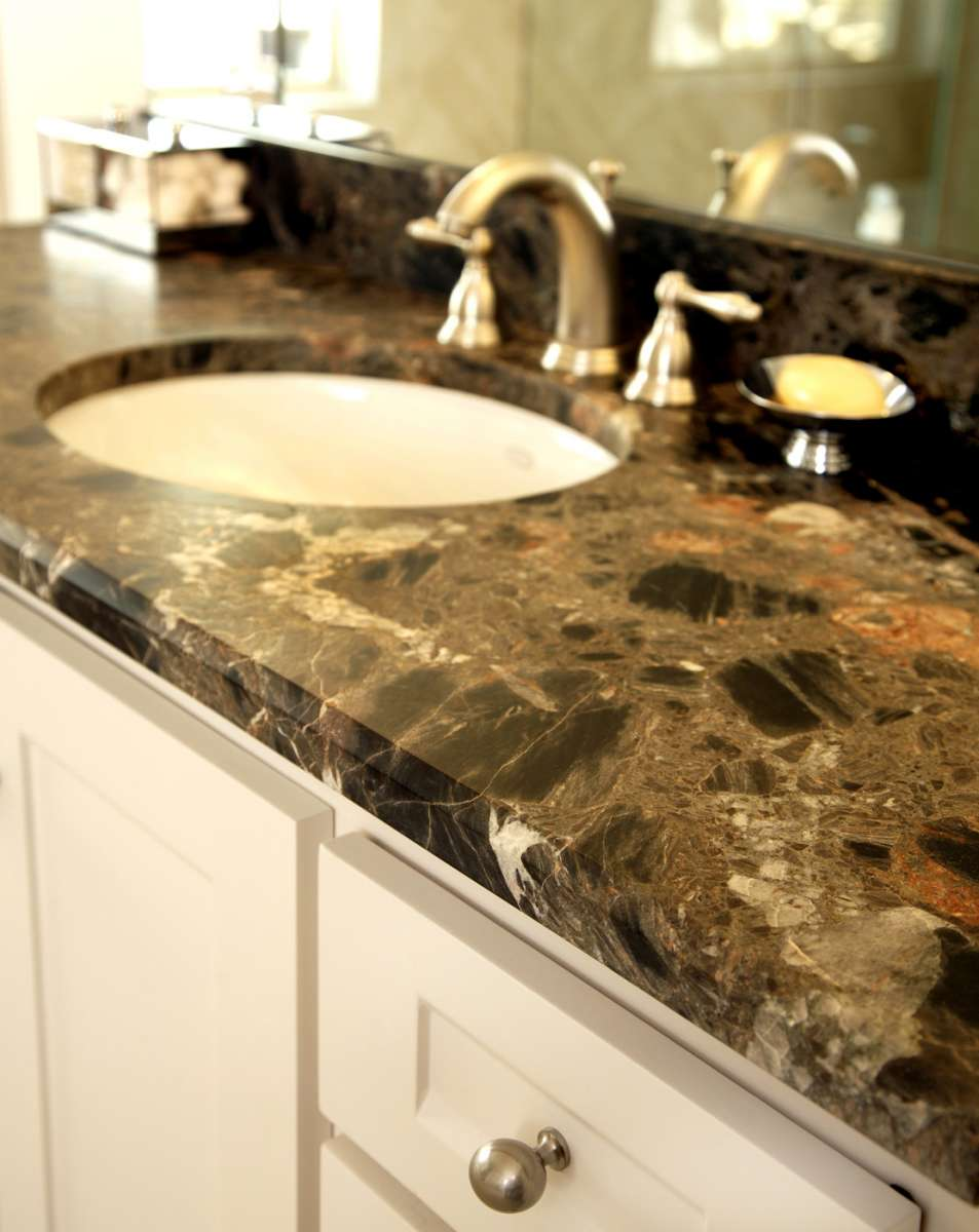 countertop edge detail in Dallas master bathroom remodel
