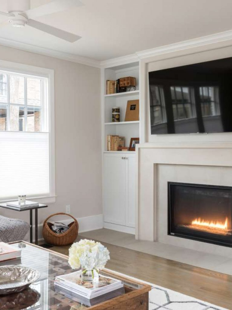 custom cast stone fireplace mantle in Dallas whole house remodel
