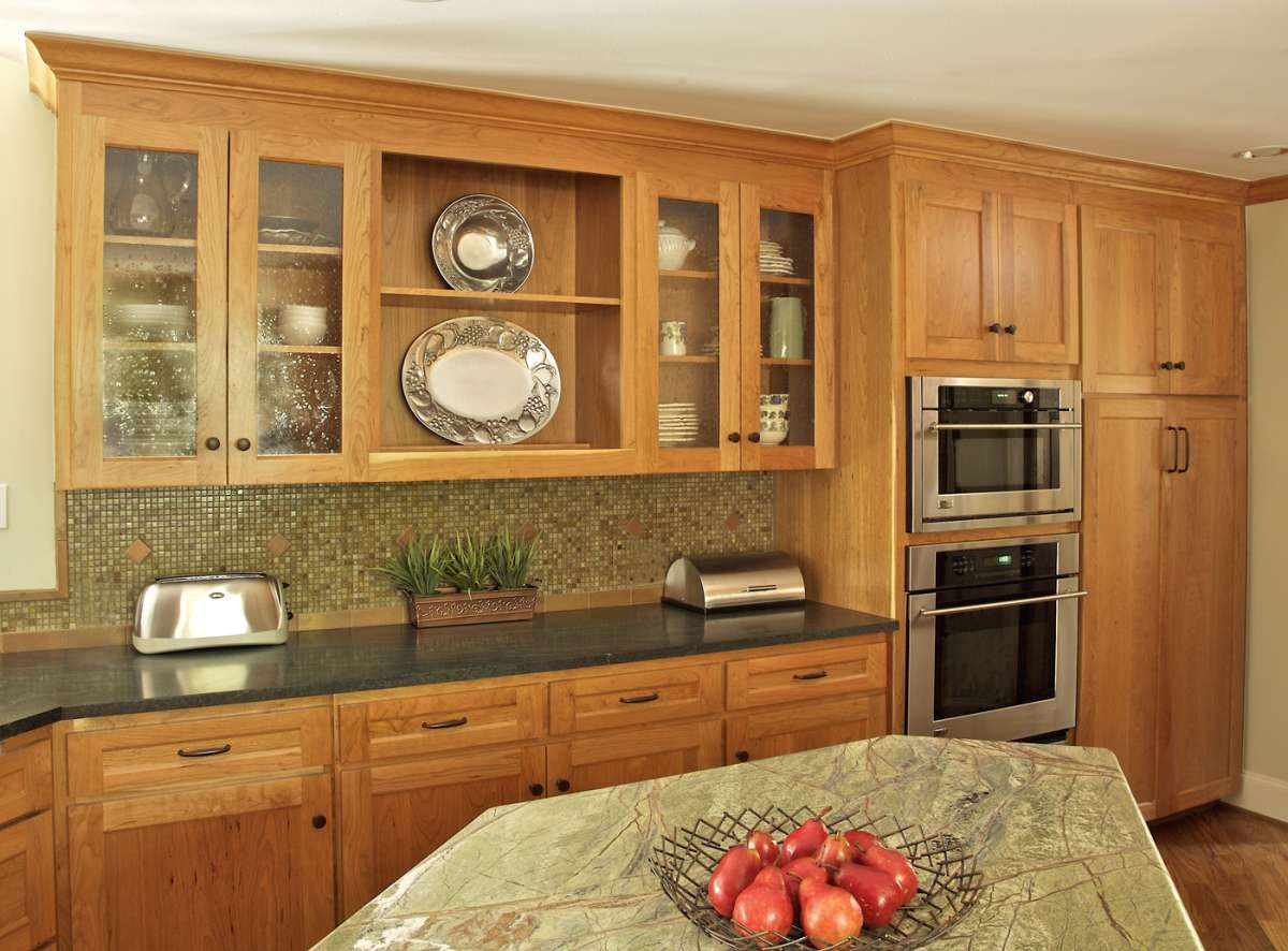 custom cherry cabinets in dallas kitchen remodel
