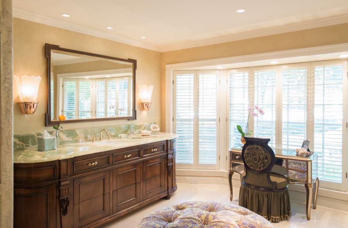 custom furniture vanity in preston hollow bathroom remodel