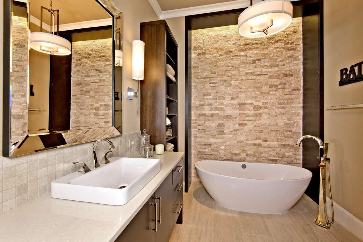 freestanding bathtub in southlake bathroom remodel