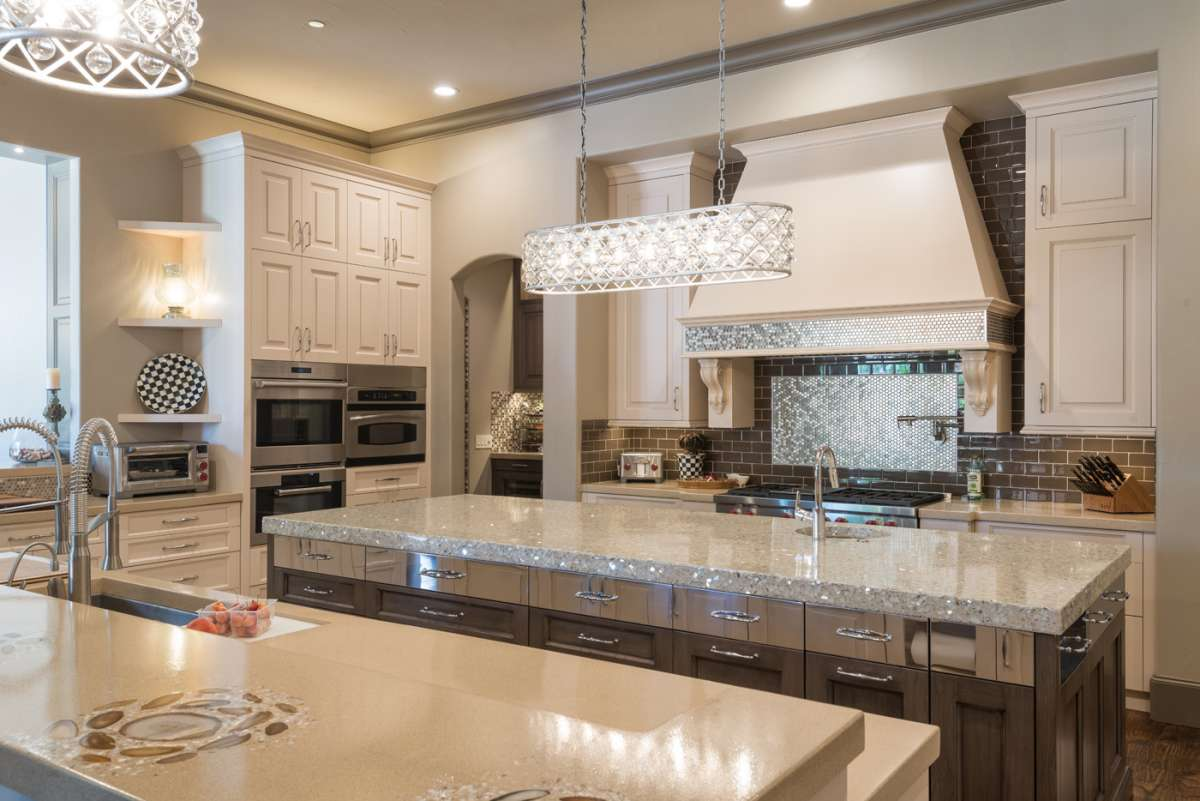 glass and concrete countertop on island in Southlake kitchen remodel