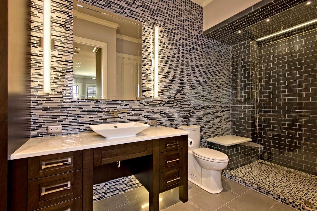 glass tile walls behind vanity in southlake bathroom remodel