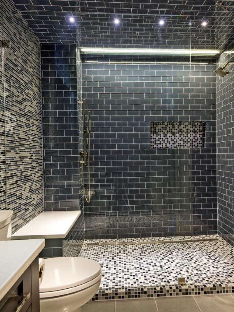 glass tile walls in southlake bathroom remodel