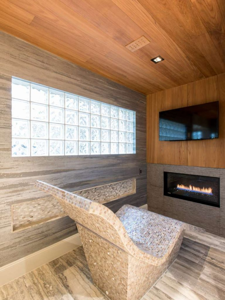 heated lounger in serenity room of dallas whole house remodel
