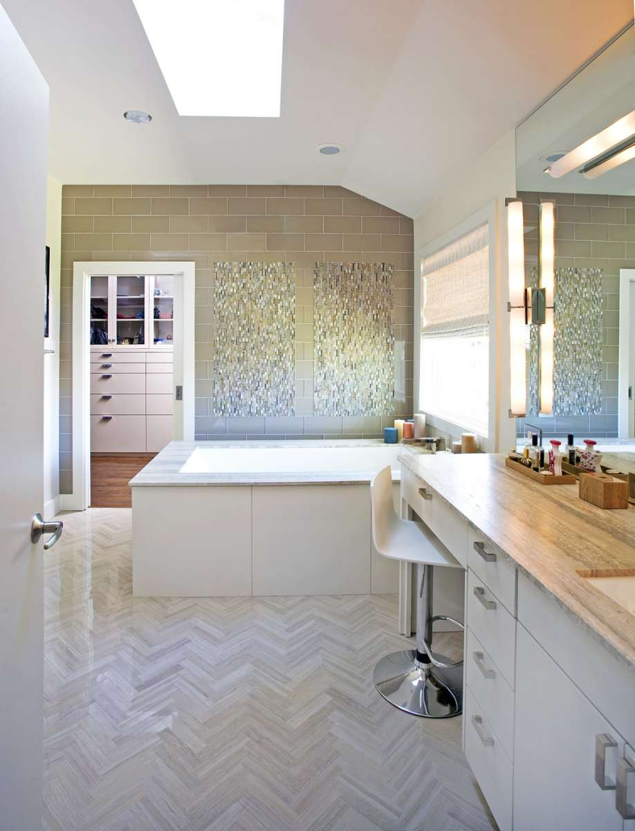 her bath and closet in Preston Hollow whole house remodel