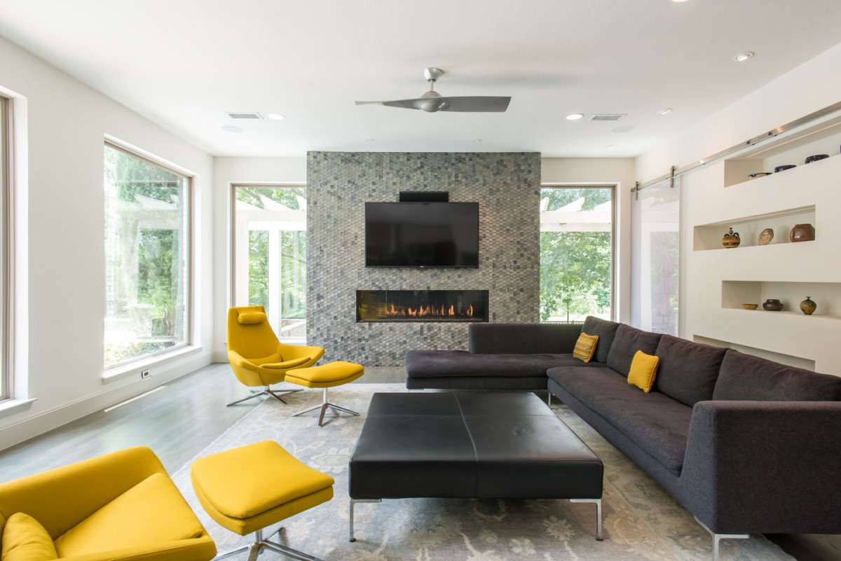 linear fireplace in Northwood Hills family room remodel