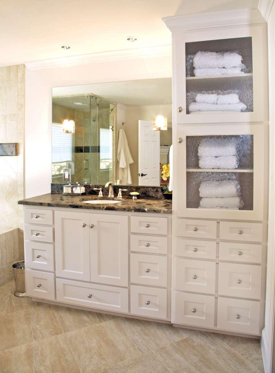 master bathroom vanity and storage in Dallas remodel