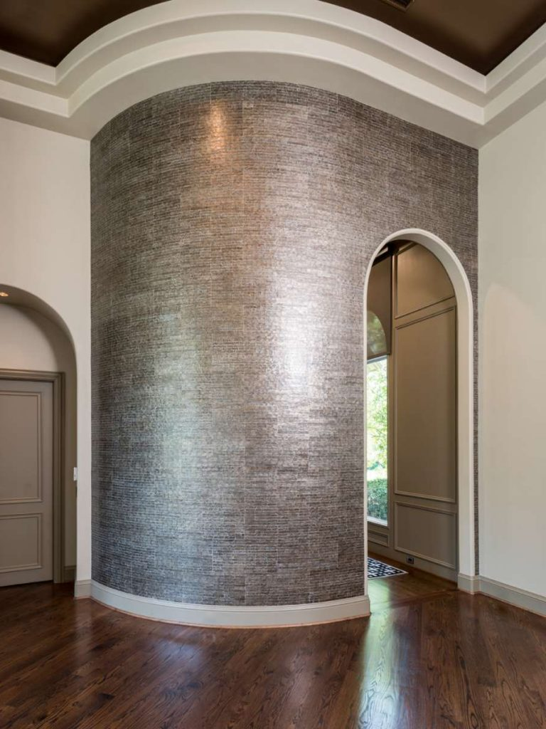mother of pearl wallpaper in plano remodel