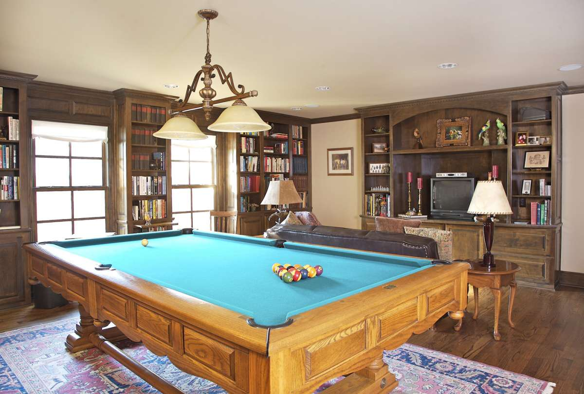 pool table in family room of Dallas whole house renovation
