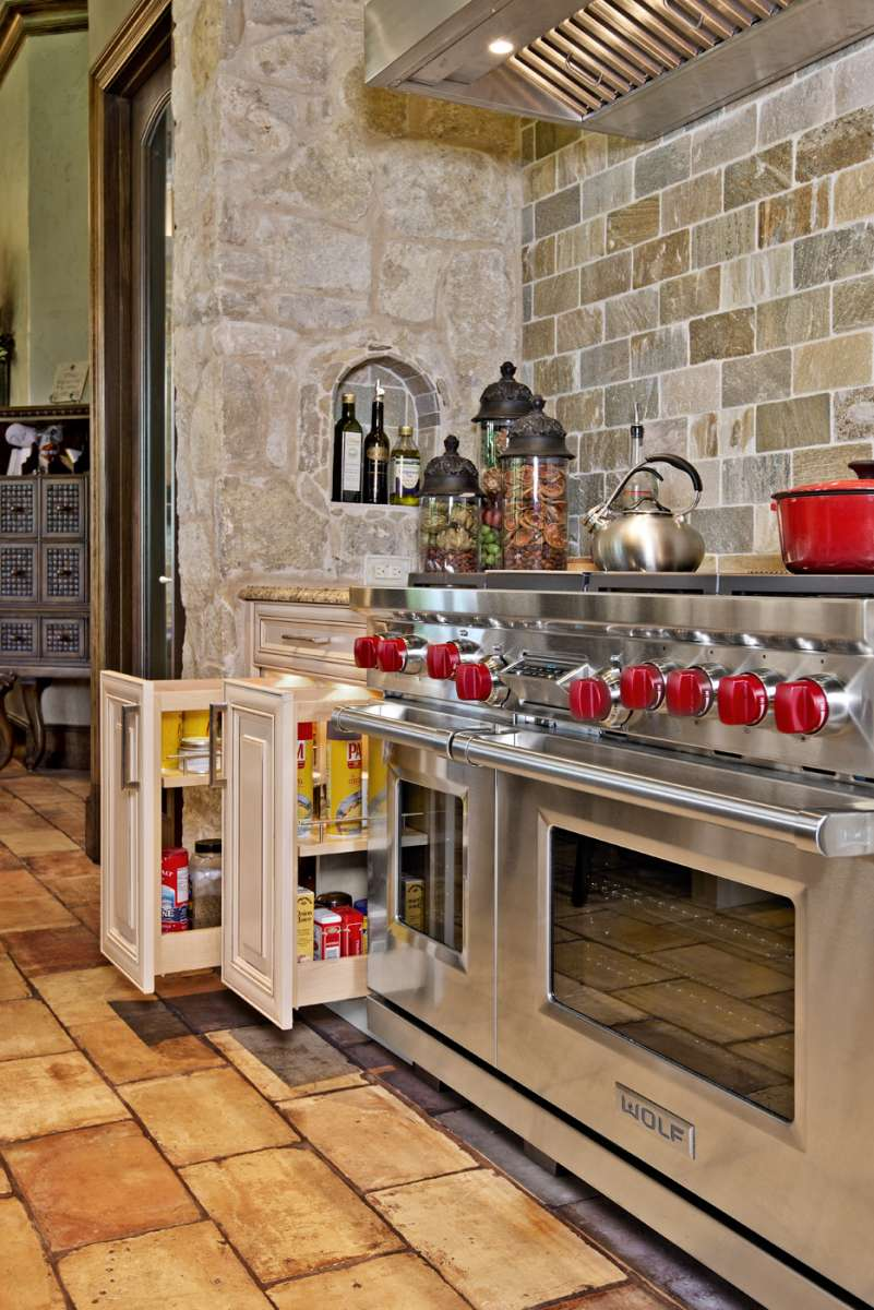 pull out spice storage at range in southlake kitchen remodel