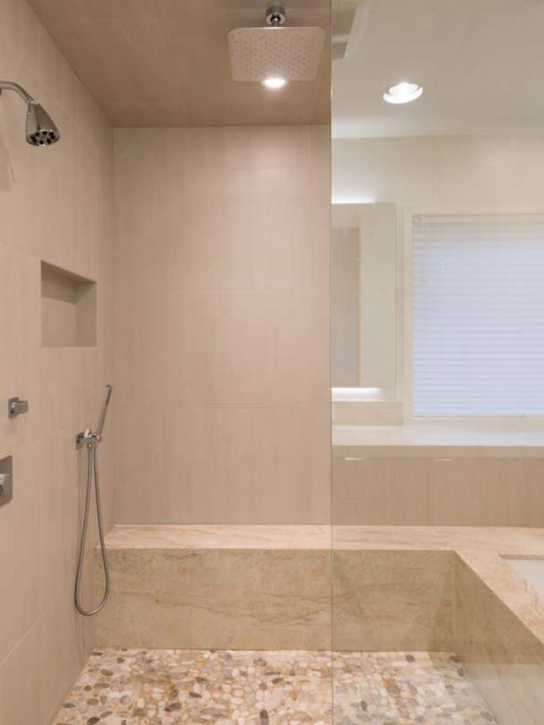 shower and tub in preston hollow master bathroom remodel