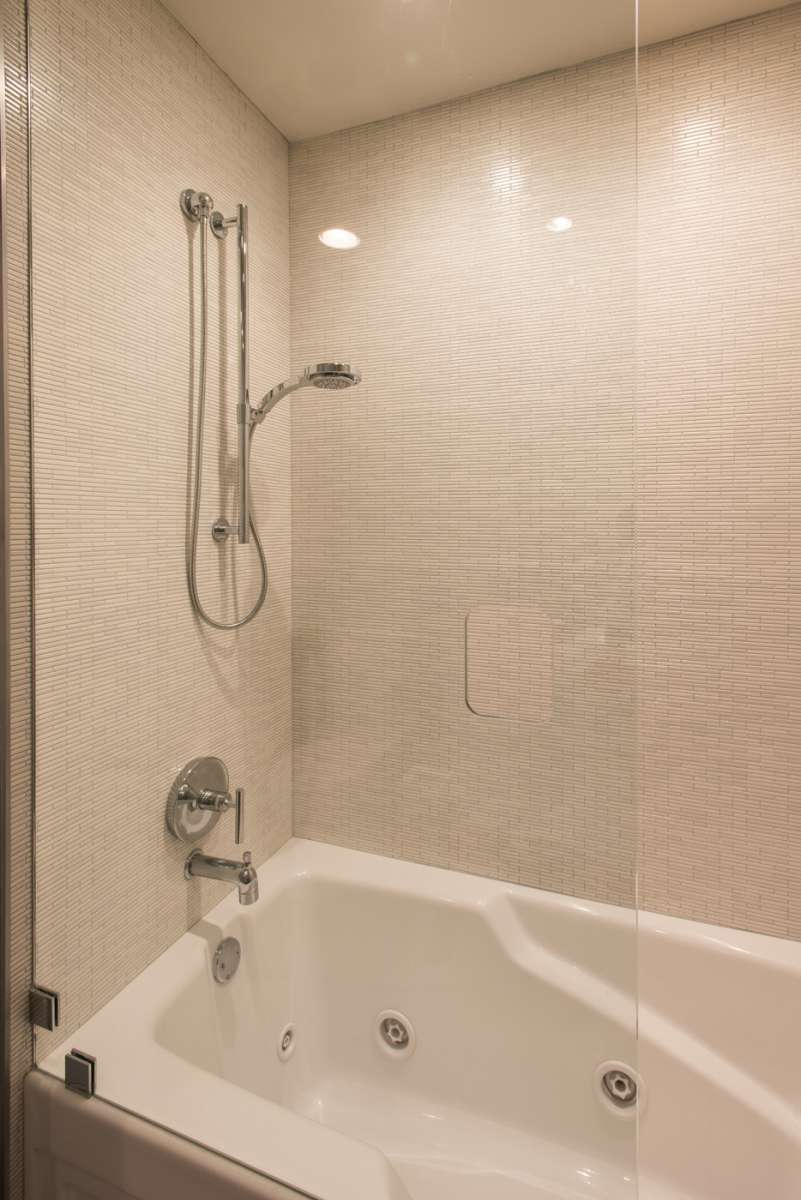 shower glass in secondary bath of northwood hills whole home remodel