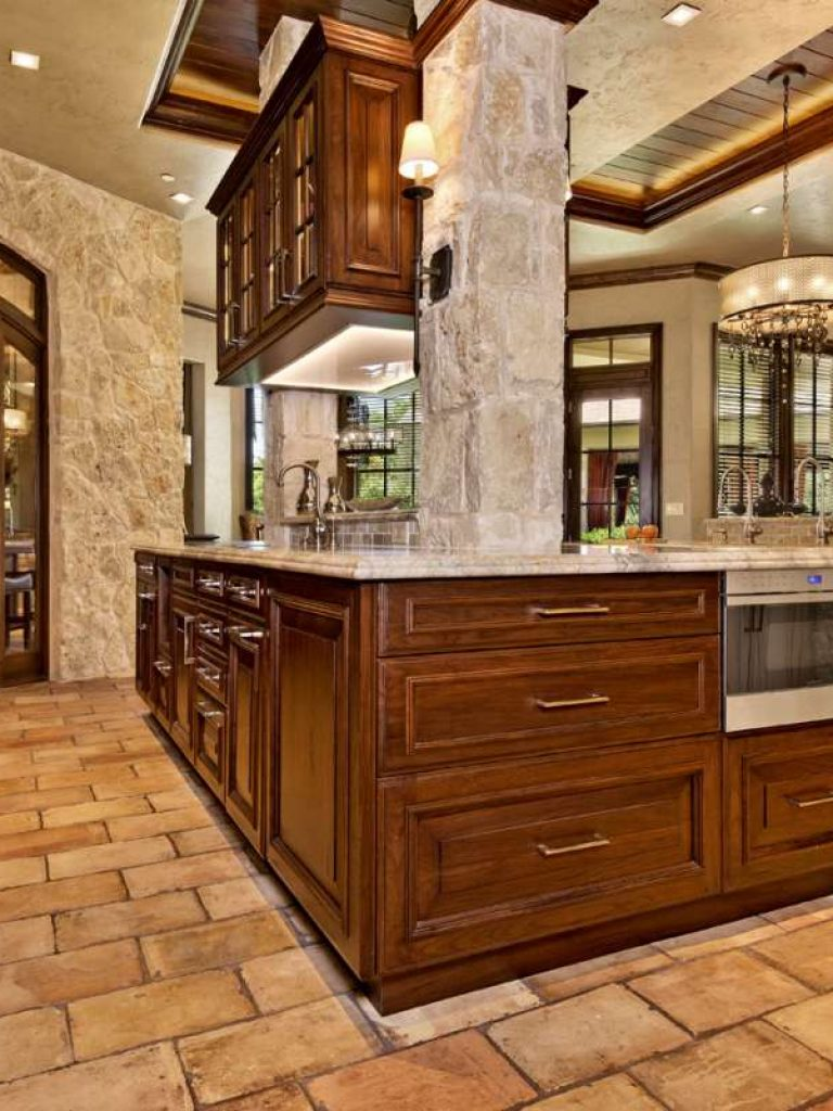 side view of prep island and wine room door in southlake kitchen remodel