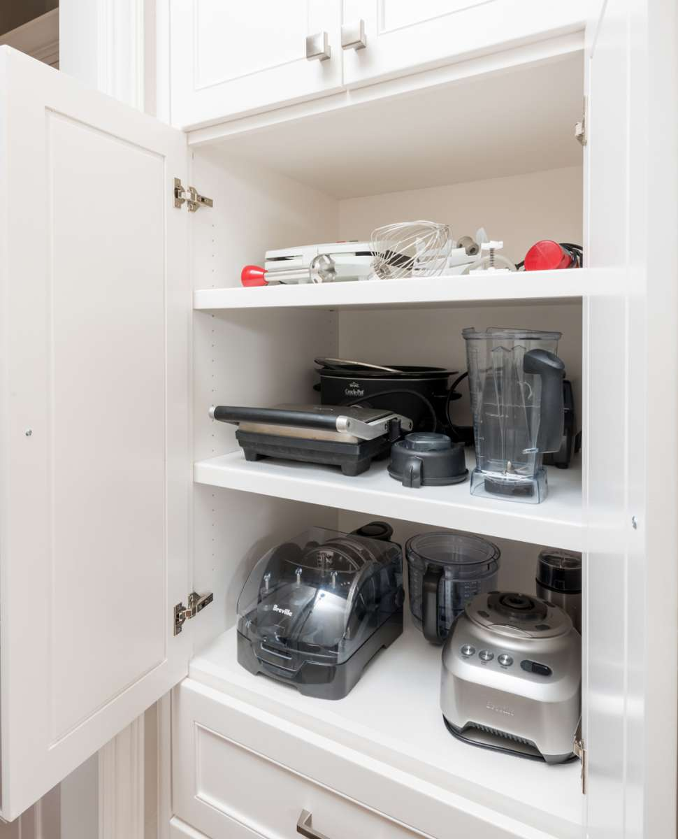 small appliance storage cabinet in Plano kitchen remodel