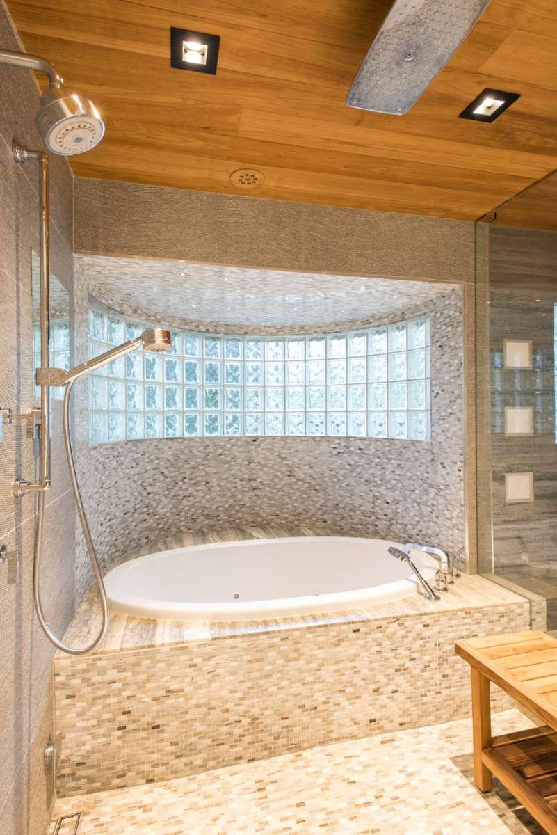 soaking tub in master bathroom of dallas whole home remodel