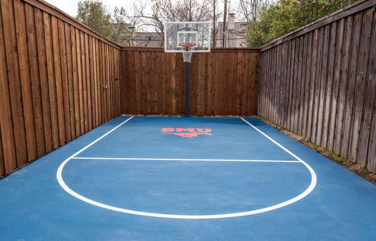 stained concrete basketball goal