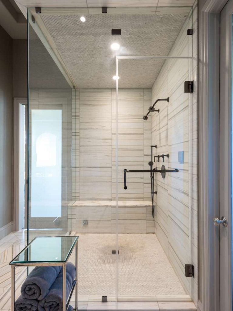 steam and multiple shower heads in plano master bathroom remodel