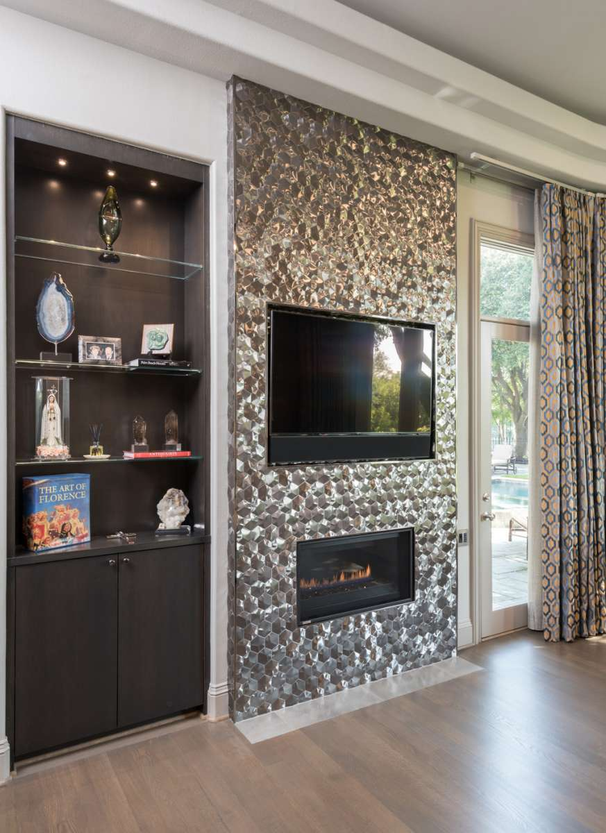 storage and fireplace in plano master suite remodel