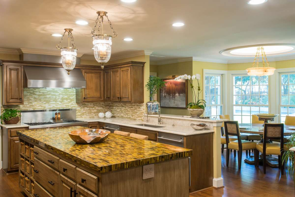 tiger eye island countertop in preston hollow kitchen remodel