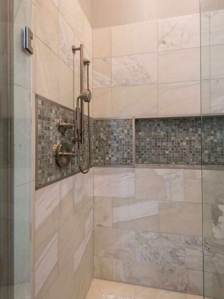 tile detail in shower of plano guest bathroom remodel