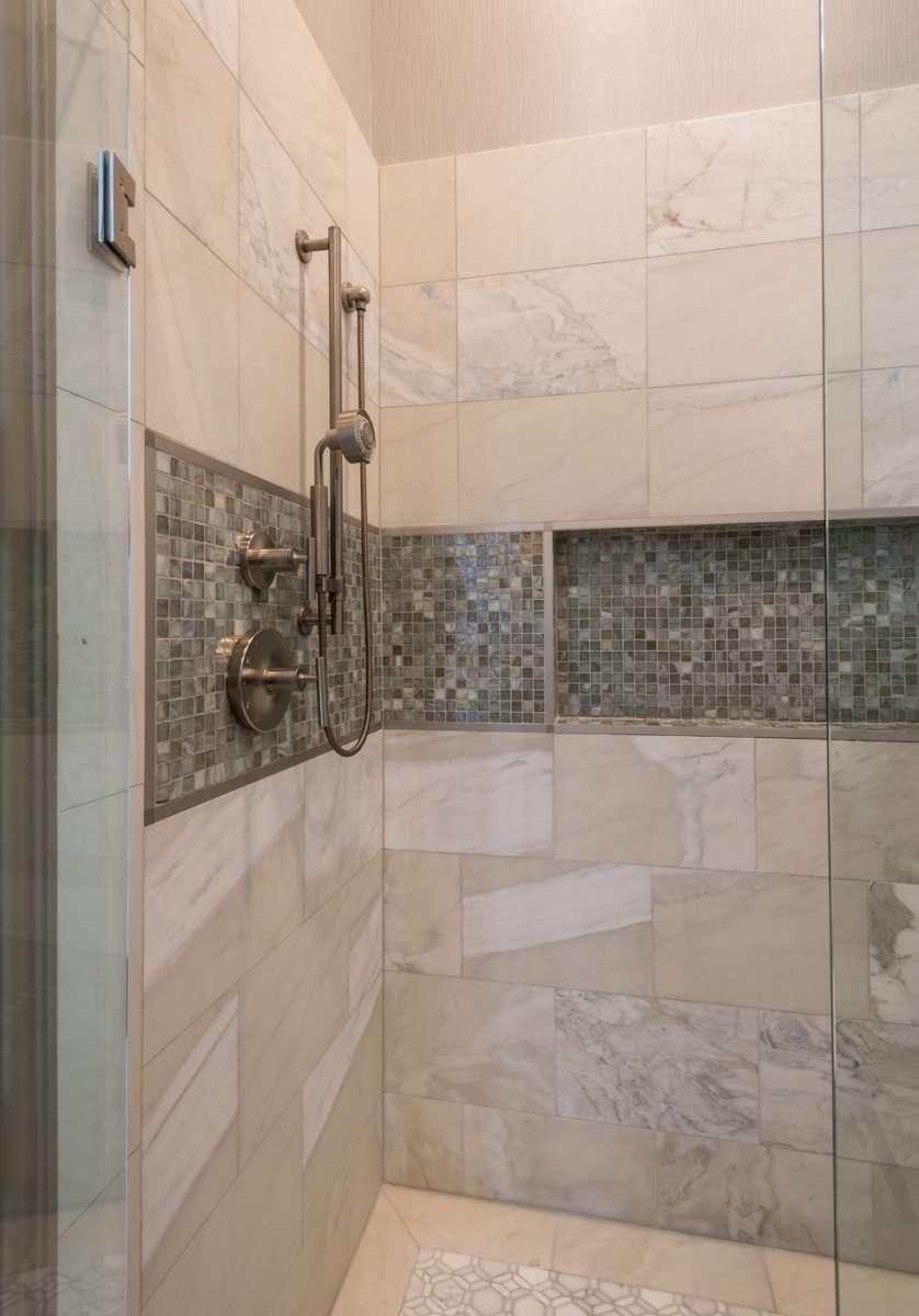 tile detail in shower of plano guest bathroom remodel