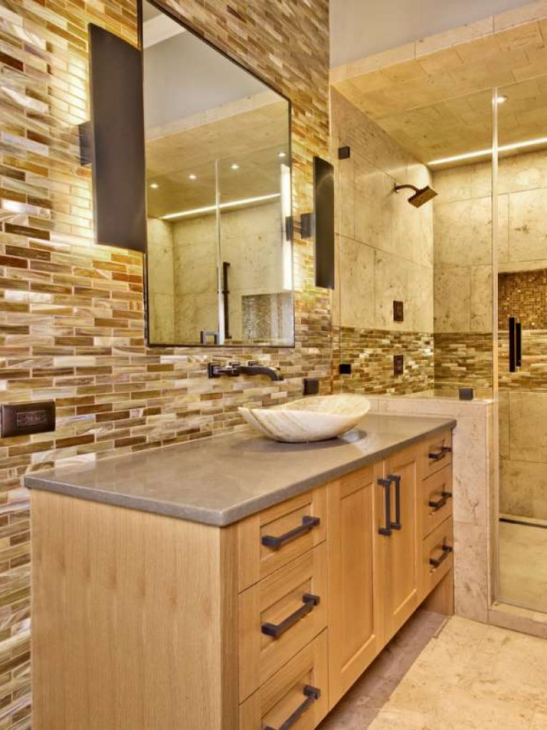 tile walls and shower accents in southlake bathroom remodel