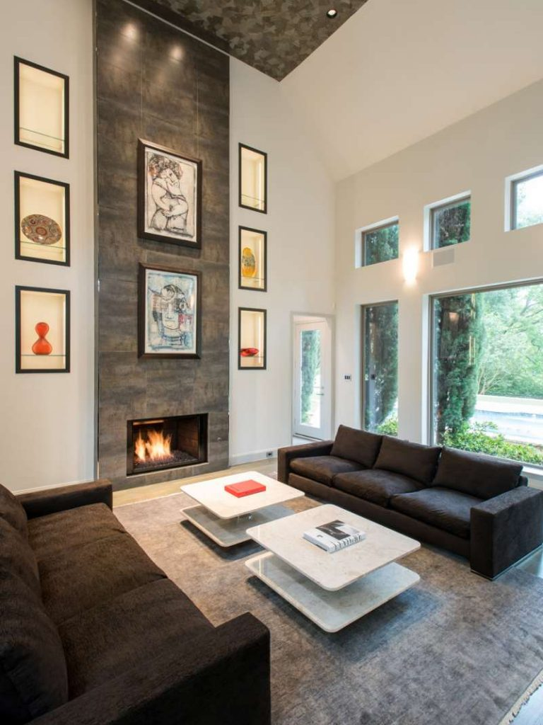 tiled fireplace mantle and overmantle in Northwood Hills remodel