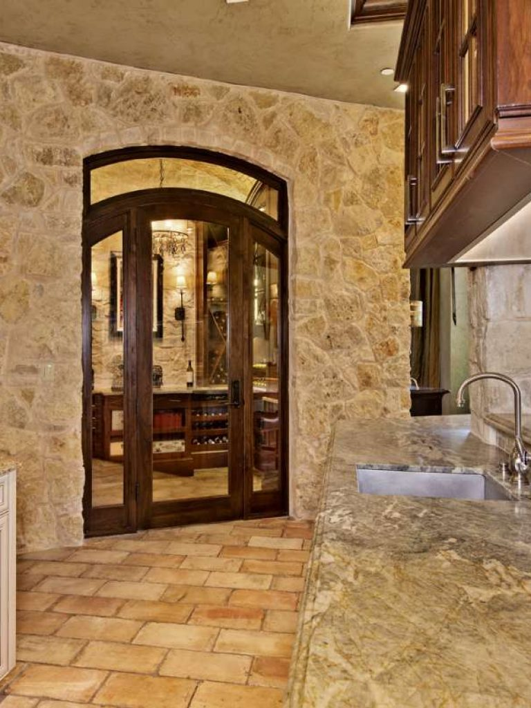 wine room door in southlake kitchen remodel