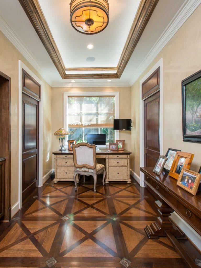 wood inlay floor in master bathroom addition in preston hollow
