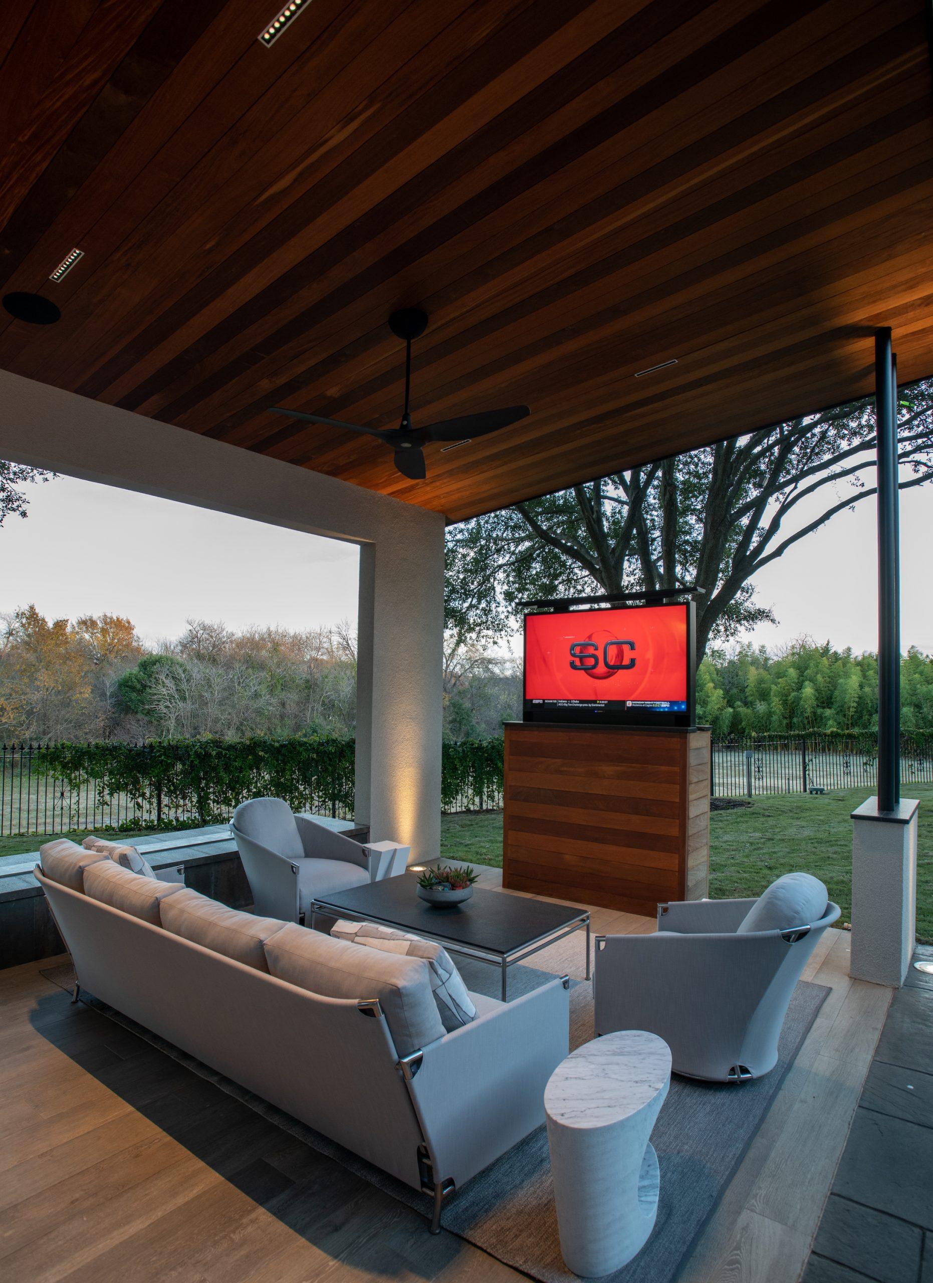 pop up tv in outdoor living plano tx
