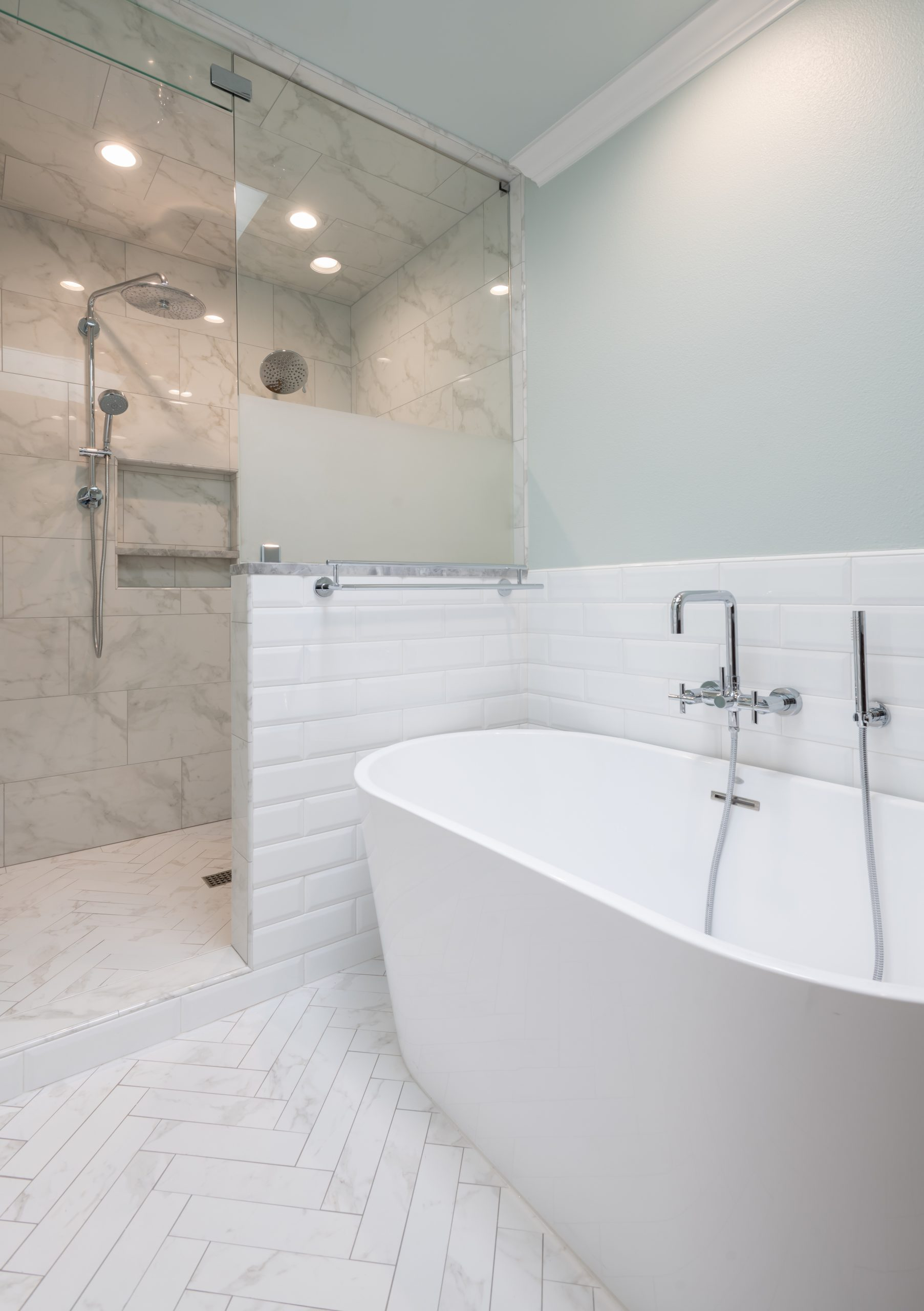 shower entrance in bathroom remodel in dallas tx