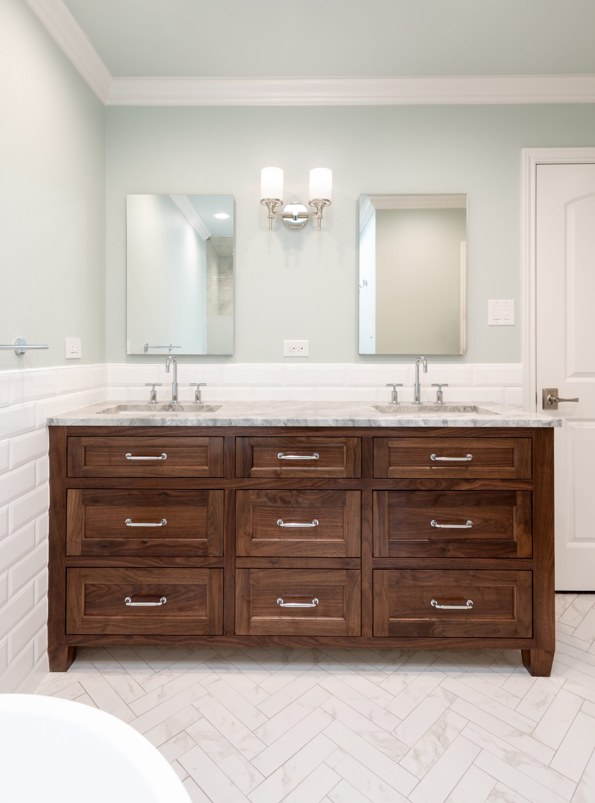 walnut vanity in dallas bathroom remodel