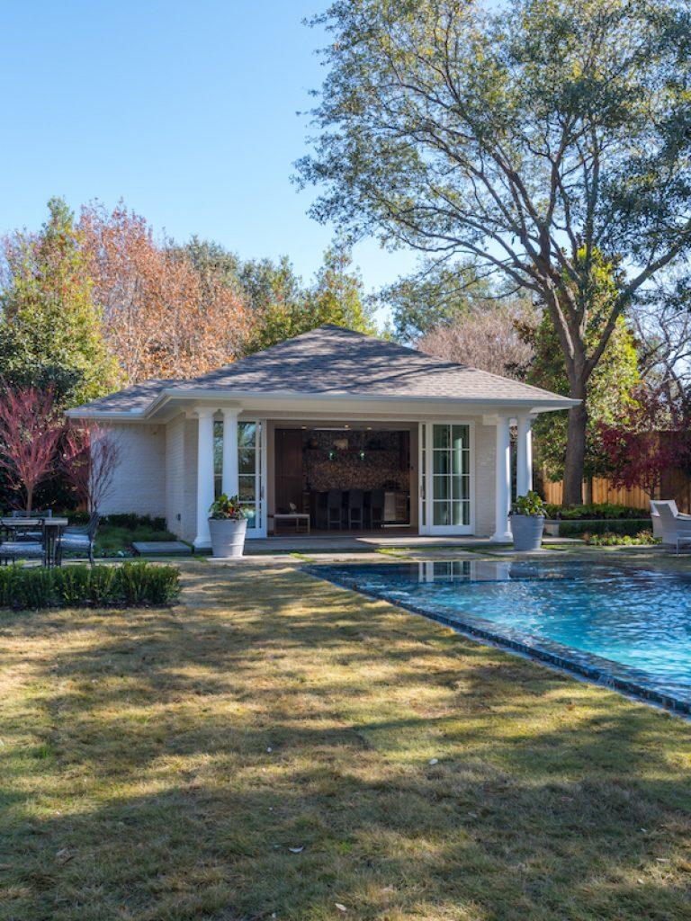 exterior view of preston hollow pool cabana