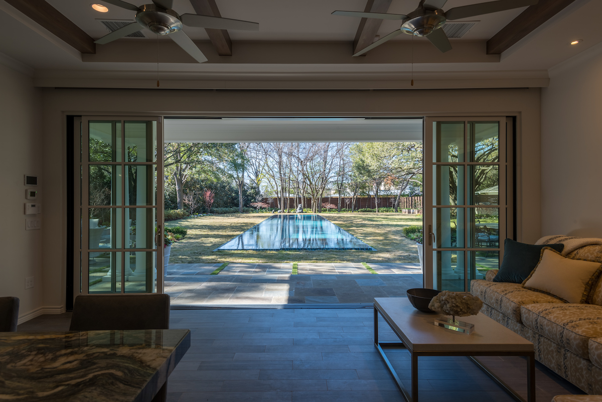 multi sliding doors in preston hollow pool cabana
