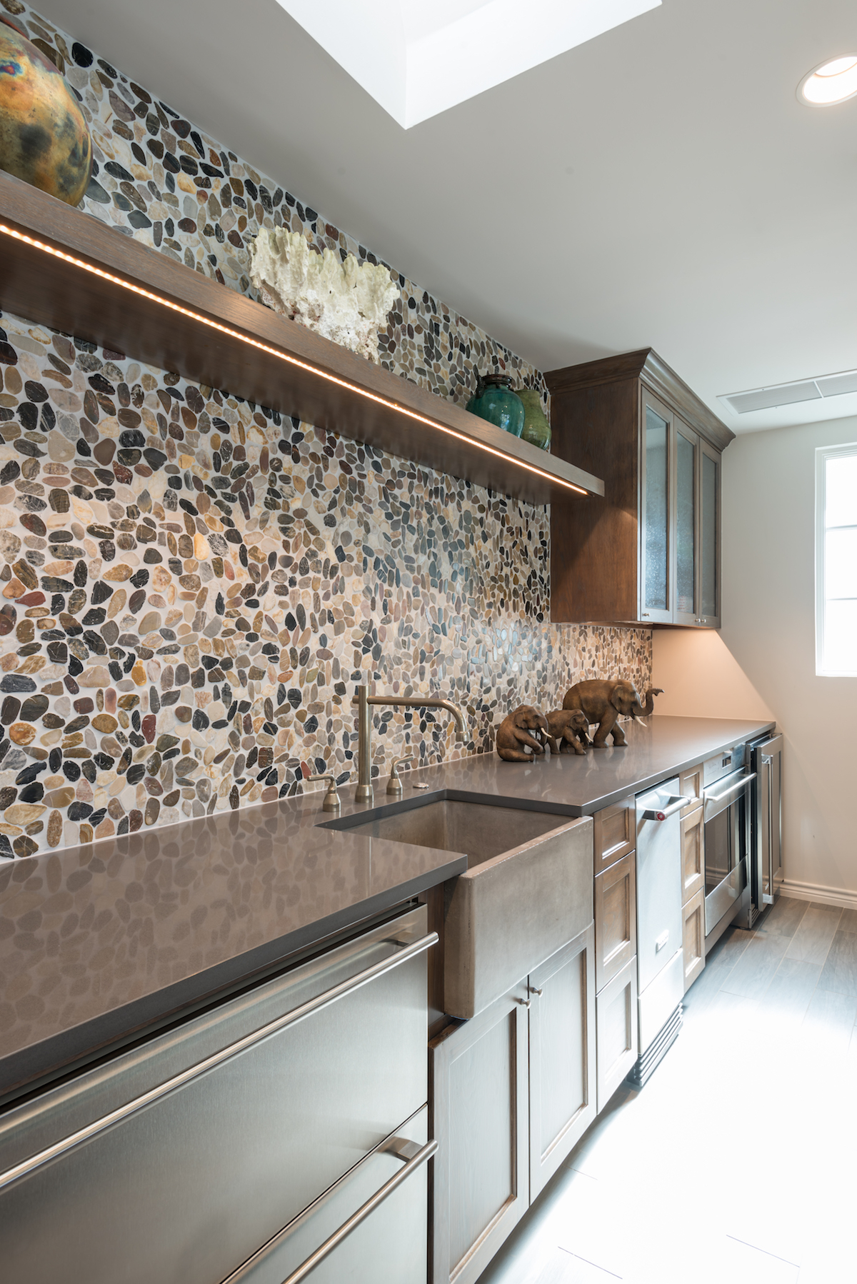 stone backsplash in preston hollow cabana kitchen