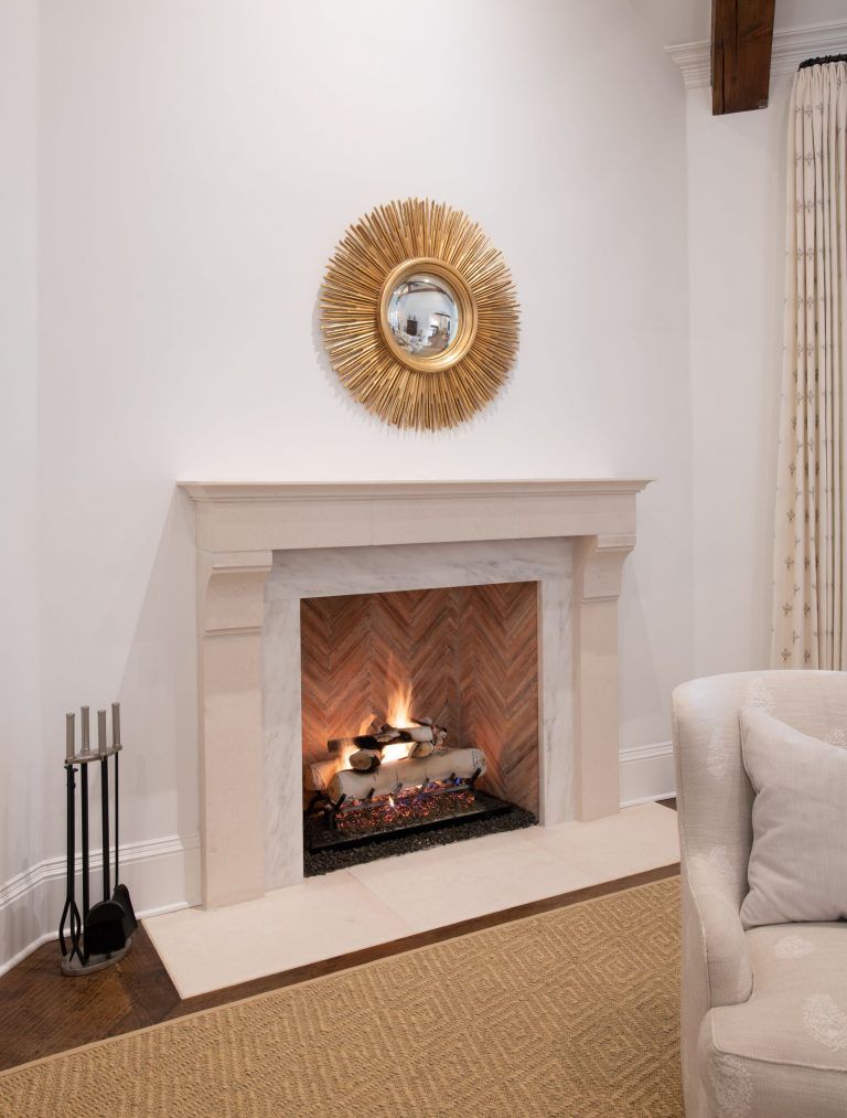 antique herringbone fireplace with cast stone in glen abbey family room remodel